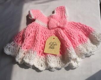 Crochet Handmade Pink and White Dress