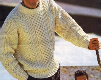 Men's Sweaters Vintage Pattern by Patons Knit sweater pattern Knitting pattern Men's knitting pattern Fisherman knit sweater