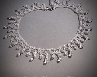 Handmade Beaded transparent crystal necklace