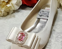 Satin Wedding SHOE Bridal Ballet Flats Ivory Clear SWAROVSKI Pink Crystals Size 7 & Size 8 - On SALE Now! Custom