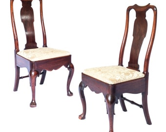 Fine Pair of Antique 18th Century George II Cuban Mahogany Chairs, c. 1730