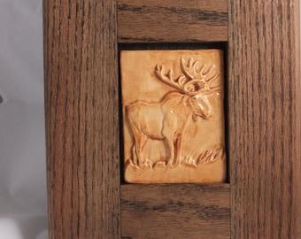 ceramic art tile-moose-oak frame-tan-brown