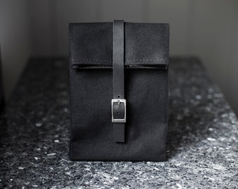 Black Lunch Bag with Leather Strap & Silver Buckle - Cotton Canvas Food Bag - Men's Bag - Women's Bag - Lunch Box