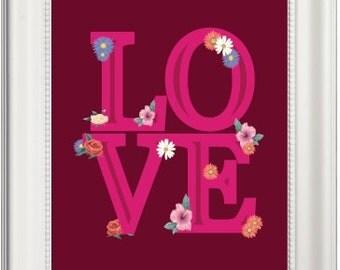 Love Prints, Love Printables, Printable Love Art, Love Art Prints, Love Wall Art, Flower Prints, Flower Wall Art, Flower Printables