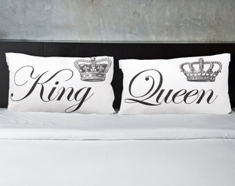 King and Queen - Engagement gift, Wedding Gift, Pillowcases, Couples pillow cases, His and Hers Pillowcase, Decorative, Gift for bride