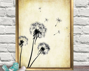 Dandelion Print, Dandelion Flower, Vintage, Floral, Make a Wish, Floral Art, Home Art, Wall Art, Home Decor
