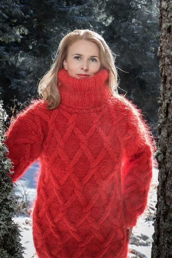 Red Sweater Chunky Mohair Sweater Cable Knit Jumper Hand Knit