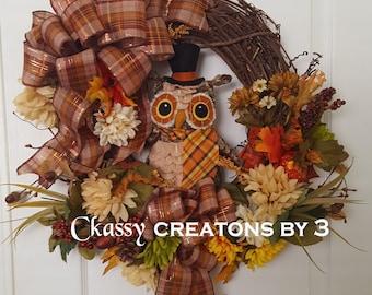 Fall Wreath, Thanksgiving Wreath, Autumn Wreath, Fall Outdoor Wreath, Fall Decor, Wreath with Owl