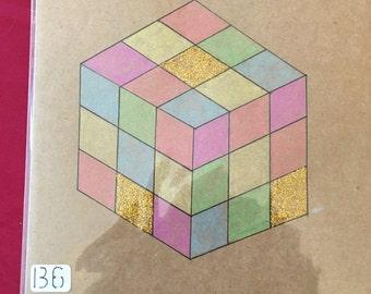 Retro rubix cube card