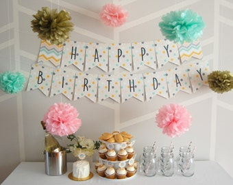 Birthday Party Banner | customization | polka dots | chevron