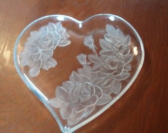 Heart Shaped Dish with Rose Design