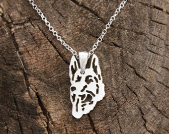 Sterling silver German shepherd Necklace, German shepherd, GSD Necklace, Sterling Necklace, Dogs Necklaces, Dogs Pendant, GSD Pendant