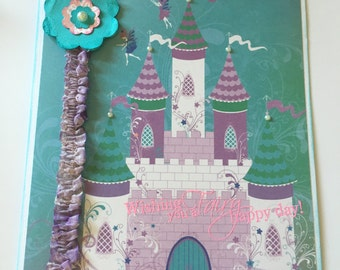 Girls Birthday/Greeting Card with envelope Fairy Castle Width 6 x 7 inches