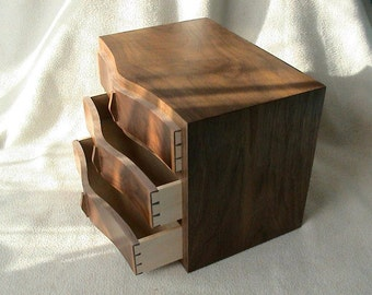 Walnut Drawer/Jewellery/Wooden box/mini chest drawers/dovetail box/chest of draws