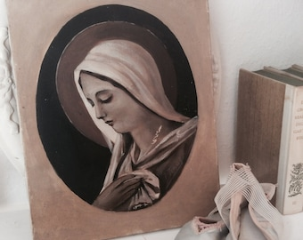 Oil painting, oil painting, nun, now, antique