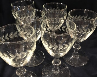 Vintage Crystal Juice Etched Glasses