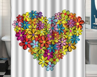 Custom Shower Curtain Heart Flowers 043578