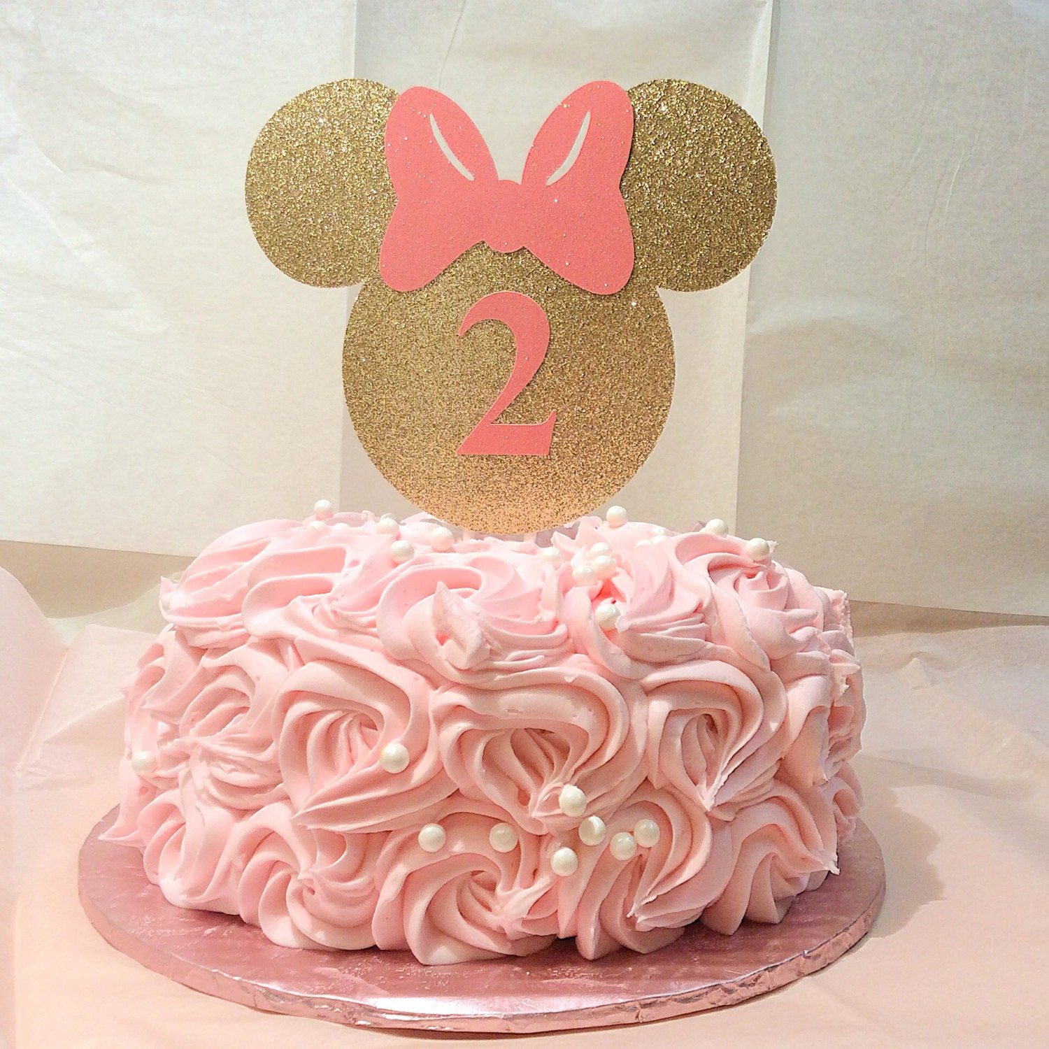 Gold And Pink Minnie Mouse Cake Topper Minnie Mouse Gold
