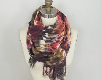 Fringed Tie Dye Shibori Scarf