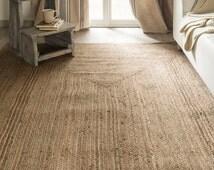 Jute Natural Rug. Handmade carpet. Mediterranean Style Rug. Hand woven Carpet. Ecologic Rug. Authentic Handmade Jute Rug.