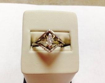14K Vintage White Gold Marquise Diamond Wedding Set