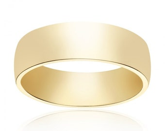 6.0mm 14K Yellow Gold Comfort Fit Band