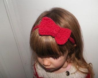 Hair Bow - PINK - Head Band, Thin Band