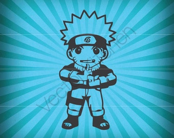 Naruto Inspired Cute Anime Ninja Cutting Template SVG EPS Silhouette DIY Cricut Vector Instant Download