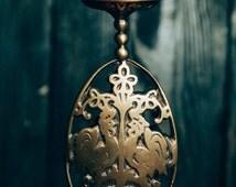 Candle holder centerpiece Roosters birds boho Ukrainian design Housevarming gift Retro golden color Handsome candle holder Home Interior