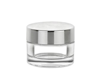 25 Clear Jar with Polished Silver Lid | Acrylic Lip Balm Jar | SET of 25 - 0.5oz (15ml)