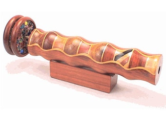 """N&J 6.75 inch solid wooden kaleidoscope in Padauk or as """"Ebony Eye"""" Temporarily SOLD OUT"""