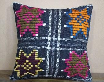"Embroidery Turkish Kilim Pillow,Kilim Cushion Cover Throw Pillow Geometric Designs Turkey Kilim Pillow 16"" x 16"" 40cm x 40 cm SP40-211"
