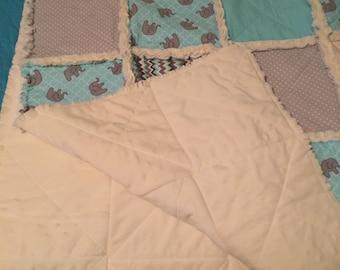 Baby Elephant Crib Rag Quilt