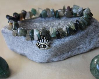 Fancy Jasper and Eye Charm Stretch Bracelet, Fancy Jasper Bracelet, Jasper Jewelry, Crystal Jewelry, Healing Jewelry, Eye Jewelry