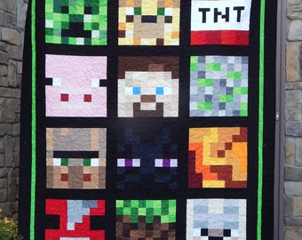 Made to Order, Minecraft Inspired Twin Quilt or Full Size Quilt