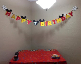 Mickey Mouse First Birthday Banner