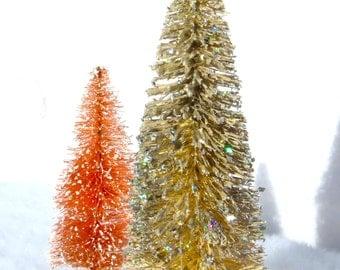 2 Bottle Brush Trees Set Christmas Village Tree Glitter Frosted Glitter  Bottlebrush Tree