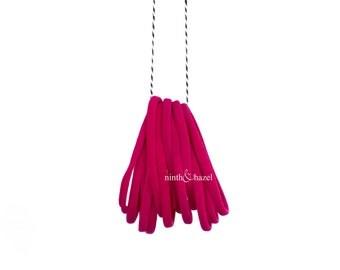 Nylon Hair Ties, Hair Ties, Hair Tie, Elastic, Ponytail Holder, Dark Pink, Fuscia