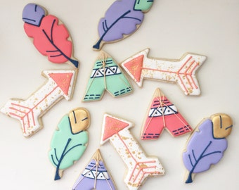 Bohemian Cookies, Feather Cookies, Arrow Cookies, Teepee Cookies, Birthday Cookies, Children's Birthday, Party Favors, Treat Bags,