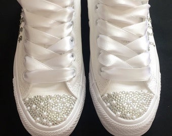 Wedding bridal customised mono converse, pearls and crystals, bling personalised made to order