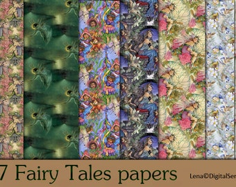 17 Fairy Tales papers INSTANT DOWNLOAD digital paper pack fantasy printable elves  decoupage paper
