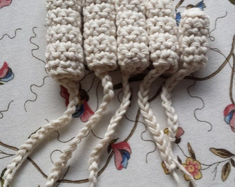 Reuseable Crochet Tampon set x 5 unbleached organic 100% cotton