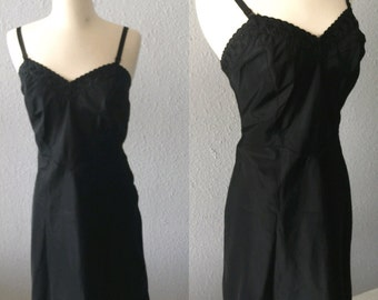 1950's Black Floral Vintage Slip Dress by Barbizon