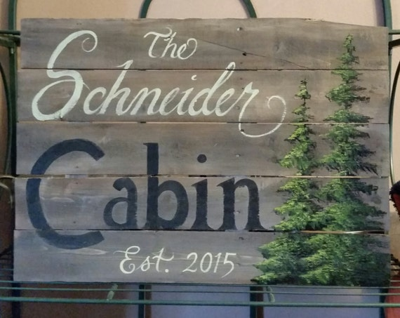 Personalized wood cabin signs custom cabin signs rustic wood for Cabin signs wood