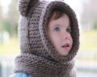 Knitting pattern, Patron tricot – Brian Bear Hooded Cowl Hood (12/18 month - Toddler - Child – Teen- Adult sizes)