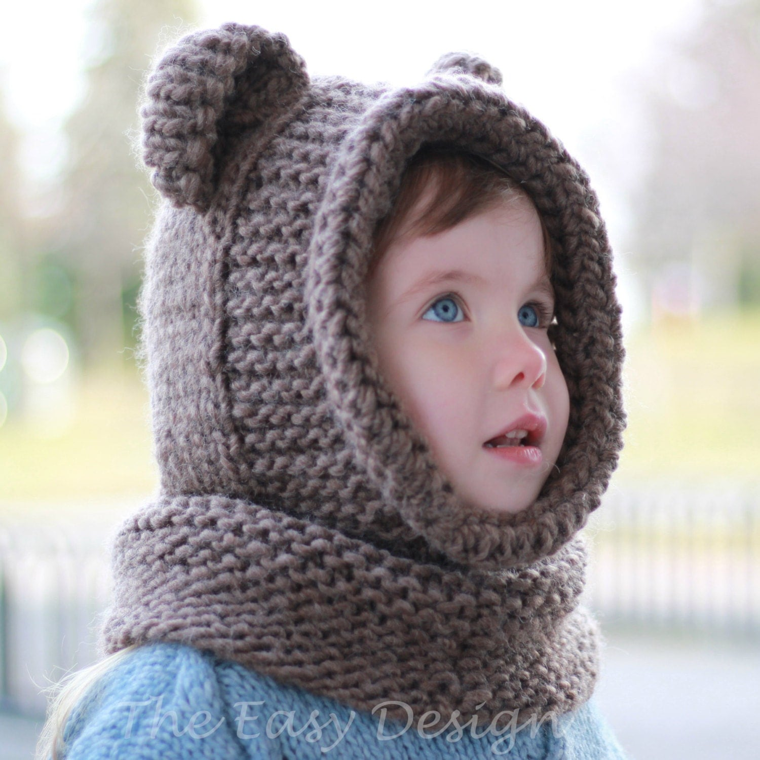 Knitting pattern Patron tricot Brian Bear Hooded Cowl Hood