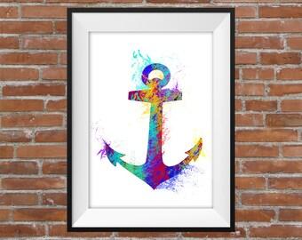 Graphic Colourful Large Anchor Print - Visual Graphic Digital Print - Home Decor - Gift Idea - Anchor Graphic - Wall Art - Home Decor