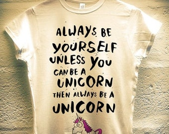 "Ladies ""I Wish I Was A Unicorn"" Hilarious Parody T-Shirt (White)"