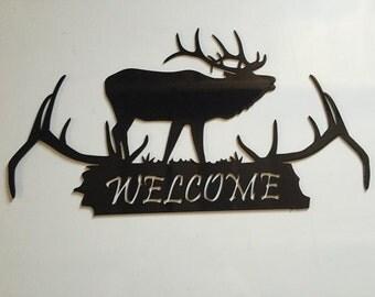 Elk on Antlers Custome Metal Welcome Sign