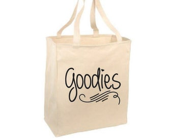 Shopping Tote. Grocery Tote. Reusable Totes. Canvas Tote. Goodies Grocery Tote. Reusable Tote. Bags. Handbag. Shoulder Bag. Groceries. Goods